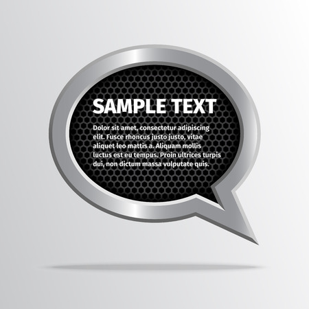 black metal: Silver speech bubble for message on dark carbon polygon background.