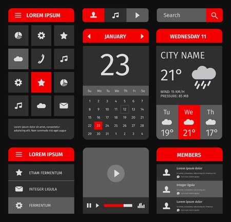 website buttons: Red and blue set of mobile interface elements. Calendar and weather forecast. Illustration