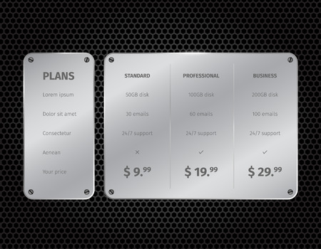 pricing: Silver modern pricing table with on dark pattern background. Vector illustration. Illustration