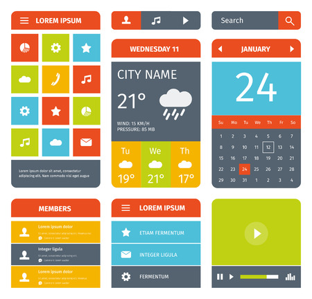 mobile app: Colorful set of flat mobile elements, design and icons for app or web. Modern colours.