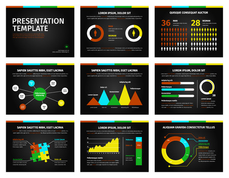 icono ordenador: ilustración conjunto de vectores infografía detallada. gráficos de colores y gráficos de presentación sobre fondo negro.