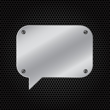speaker icon: Silver speech bubble for message on dark carbon polygon background. Isolated on white.