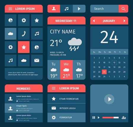 interface: Red and blue set of mobile interface elements. Calendar and weather forecast. Illustration
