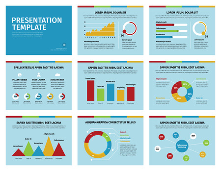 reciclar: Detail infographic set vector illustration. Colorful graphs and presentation graphics on soft blue background.
