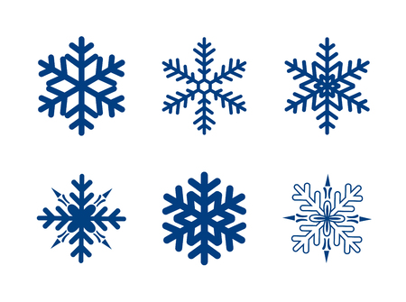 Vector snowflakes collection isolated on white. Dark blue colour.