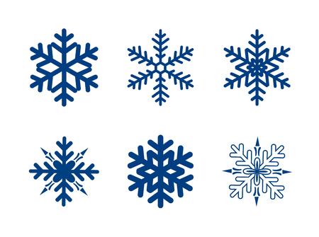 copo de nieve: colección de los copos de nieve del vector aislado en blanco. de color azul oscuro.