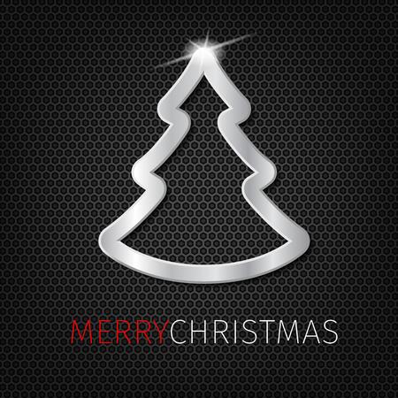 Kerstboom op koolstof achtergrond met ster. Stock Illustratie
