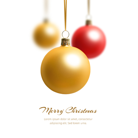 golden ball: Three hanging christmas balls. Concept for christmas greeting
