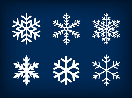 ice: White set of snowflakes on dark blue background. Illustration