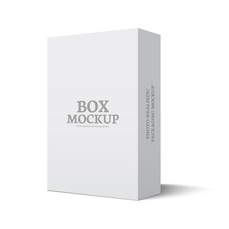 골판지 포장 상자. 그림 모형 템플릿 흰색 배경에 고립입니다. 디자인을위한 준비까지 모의. 벡터 eps10 일러스트