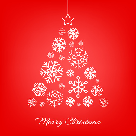 the season of romance: Vector stylized Christmas tree made from white snowflakes on red background. Merry Christmas greeting card.
