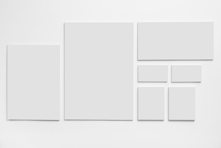 Gray stationery mock-up template on white background. Envelopes and business cards. 写真素材