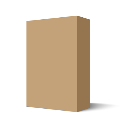 packages: Illustration mockup cardboard package box. Isolated on white background. Mock Up ready for your design. Vector EPS10