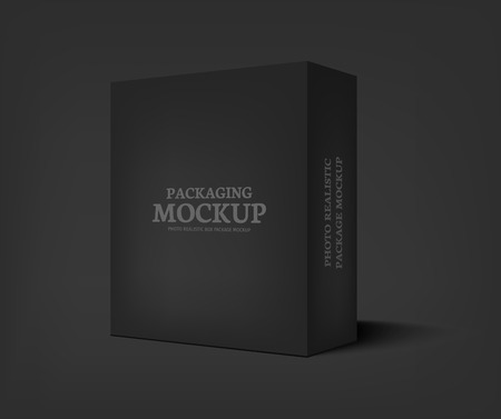 product packaging: Realistic black box on dark gray background. Packaging design template container. Vector illustration Illustration