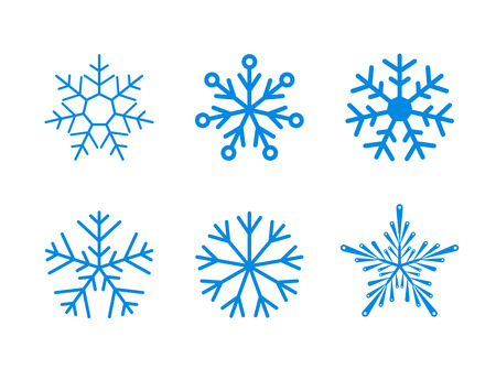 Isolated set of vector snowflakes on white background. Ready to change colour.