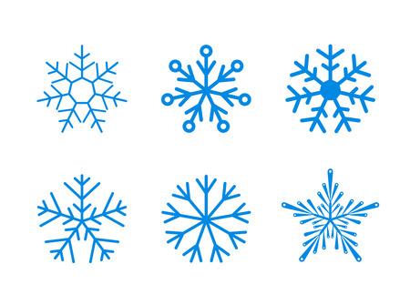 Geïsoleerde set van vector sneeuwvlokken op een witte achtergrond. Klaar om kleur te veranderen.