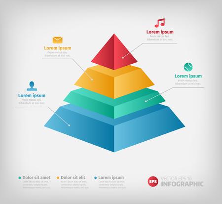 Pirámide gráfico de la carta de información para el diseño de negocios. Los informes, presentaciones de paso en forma de cono con iconos.