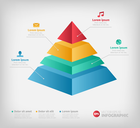 Pyramid info chart graphic for business design. Reports, step presentations in cone shape with icons.