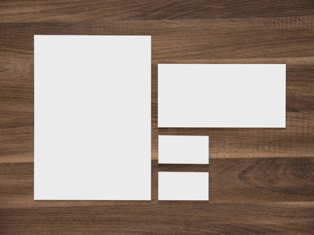 Blank A4 paper, envelope and business cards. Simple corporate identity branding presentation template. 免版税图像