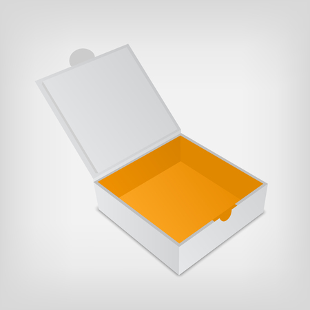 Open packaging design box mockup. Gray square shape and orange color inside. Mock-up template ready for your design.  Vector illustration isolated on white background.