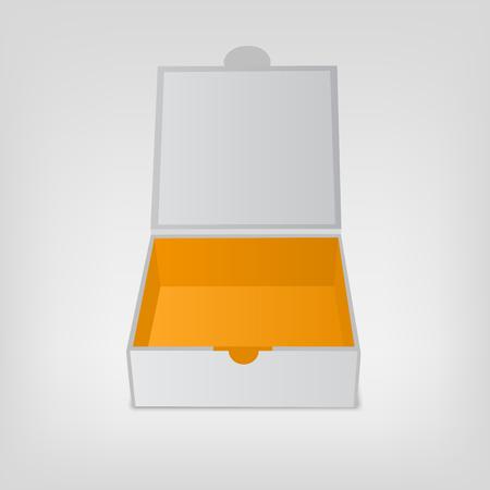 box design: Gray squared box, orange color inside. Open box mockup. Vector illustration isolated on white background. Illustration