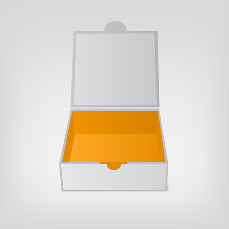 Gray squared box, orange color inside. Open box mockup. Vector illustration isolated on white background. Illustration