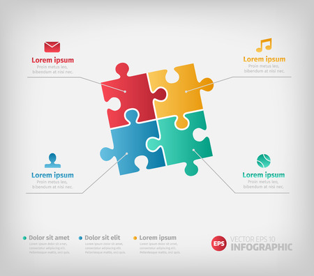 red puzzle piece: Puzzle infographic illustration for business design and reports. Text with clean colorful icons. Illustration