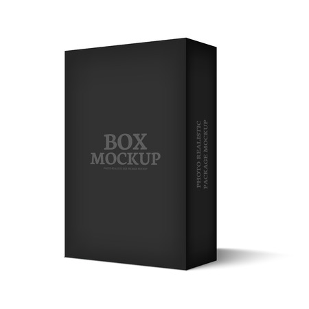 carton: Realistic black box isolated on white background. Mockup template ready for your software packaging design. Vector illustration.