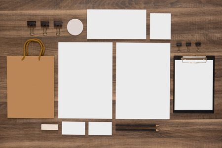 blank template: Branding mockup. Group of stationery with shopping bag and business cards. CI template. Stock Photo