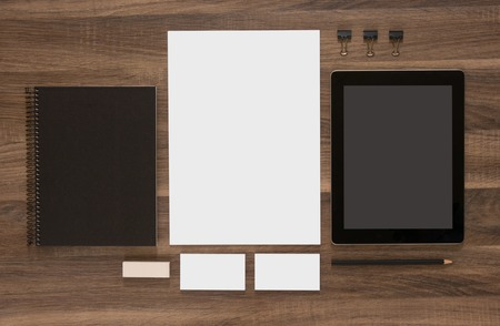 stationary: Branding mockup. Group of stationery with tablet and business cards. CI template.