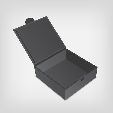 mockup: Open gray packaging design box mockup. Gray squared shape. Vector illustration isolated on white background. Illustration