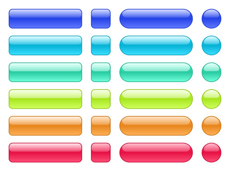 Set of colored web buttons. Glossy rounded background.