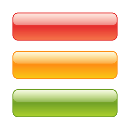 Set of colored web buttons. Glossy red, green and yellow rounded background.