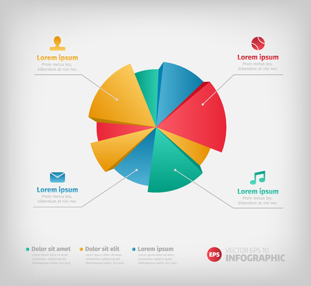 Modern 3d infographics pie chart for web or brochures.  Vectores