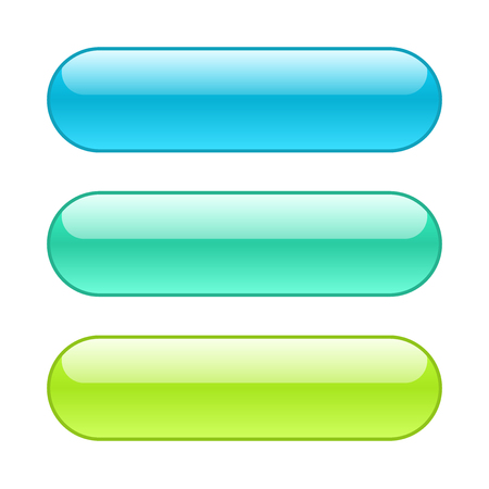 Set of colored web buttons. Rounded shape background with outlines.