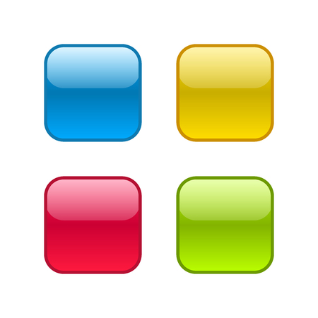 Set of square rounded web buttons. Glossy design with outlines border.