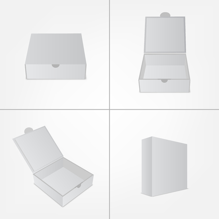 Set of packaging design box mockup. Gray square shape in four views. Mock-up template ready for your branding design.  Vector EPS10 illustration. Ilustracja