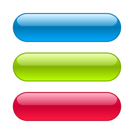 Blue, red and green web buttons. Glossy rounded background. Vectores