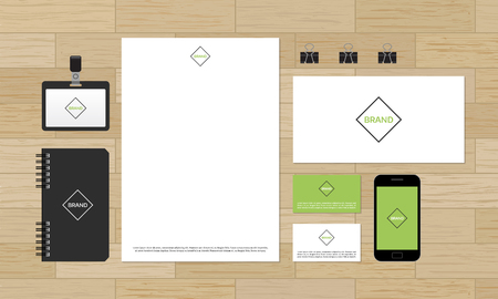 format: Corporate identity design template on wooden background. Editable vector format. A4 letterhead and business cards.