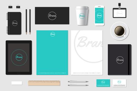 Branding template mockup for CI presentation on grey. Editable vector illustration. Vectores