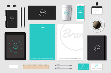 brands: Branding template mockup for CI presentation on grey. Editable vector illustration. Illustration