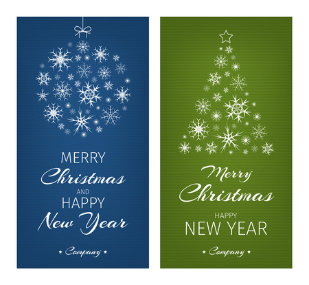 blue ball: Multicolor green and blue christmas cards. Christmas ball and tree made from snowflakes. Merry Christmas and Happy New Year message.