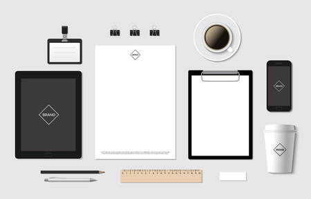 a5: Blank branding template mockup for corporate identity presentation. Tablet and mobile phone with A4 and A5 documents. Vector illustration.