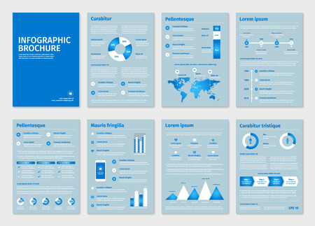 demographics: Blue business A4 brochures with infographic vector elements. Use in website, flyer, corporate report, presentation, advertising, marketing etc.