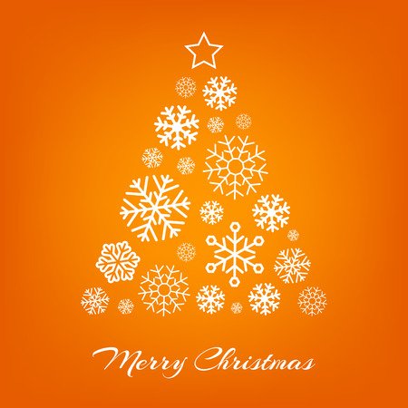 Vector Christmas tree made from white snowflakes on orange background. Merry Christmas greeting card.