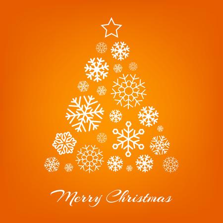 naranja: Vector árbol de Navidad de copos de nieve blancas sobre fondo naranja. Feliz tarjeta de felicitación de Navidad. Vectores
