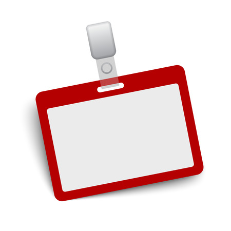 label tag: Red and gray blank vector name tag isolated on white background.