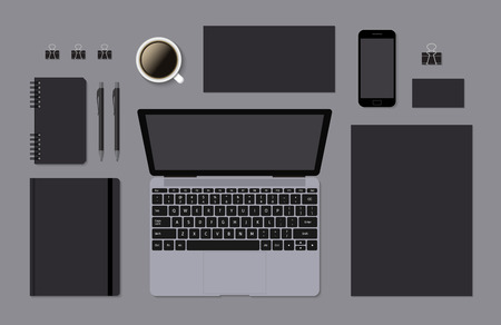 a5: Blank branding mockup for corporate identity presentation. Laptop and mobile phone with A4 and A5 notepad. Vector illustration. Illustration