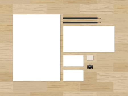 ci: Blank branding mockup for CI presentation on wooden background. Vector illustration.