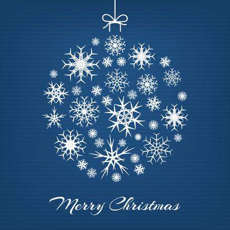 schneeflocke: H�ngende wei�e Weihnachtskugel aus Schneeflocken auf blauem Hintergrund. Frohe Weihnachten Vektor-Illustration. Illustration